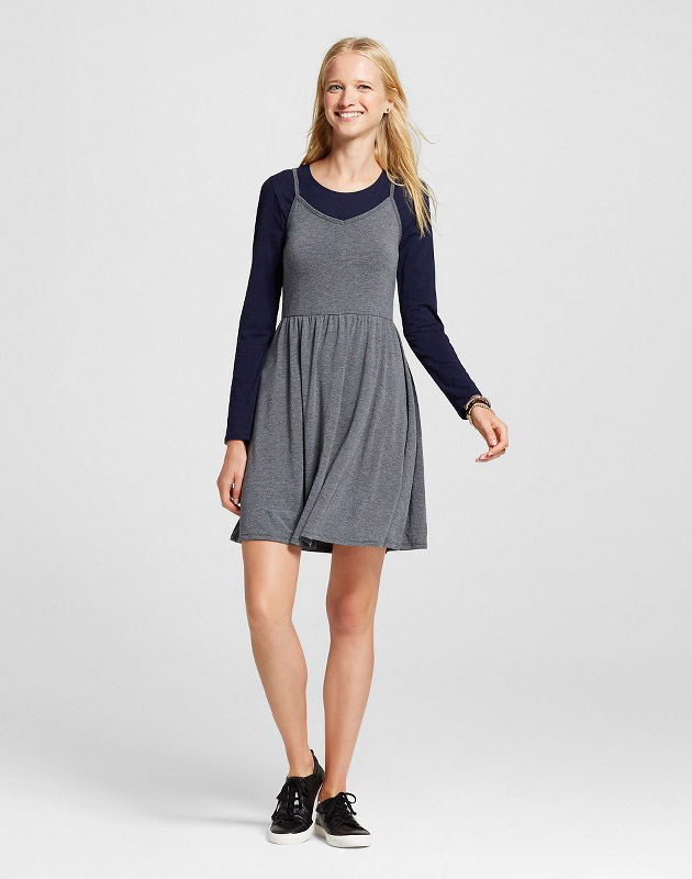 photo Knit Swing Skater Dress by Mossimo Supply Co., color Grey - Image 1