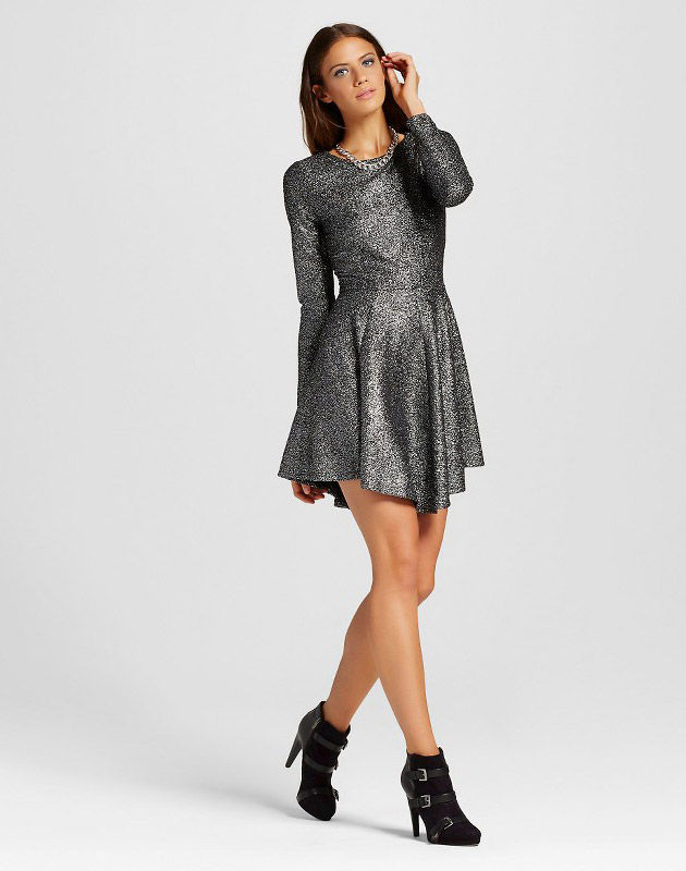 photo Foil Sparkle Fit   Flare Dress by Eclair Silver 77f0f513a