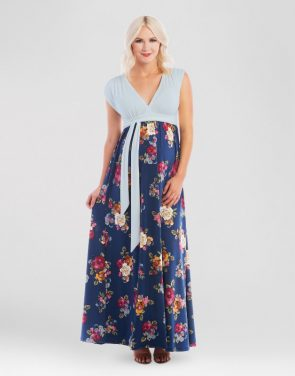 photo Maternity Floral Print Maxi Dress by Expected by Lilac, color Navy Blue - Image 1