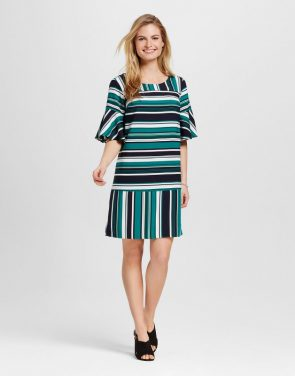 photo Striped Crepe Flutter Sleeve Dress by Merona, color Green Multi - Image 1