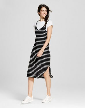 photo Knit Slip Dress with T-Shirt by Mossimo Supply Co., color Black White Stripe - Image 1