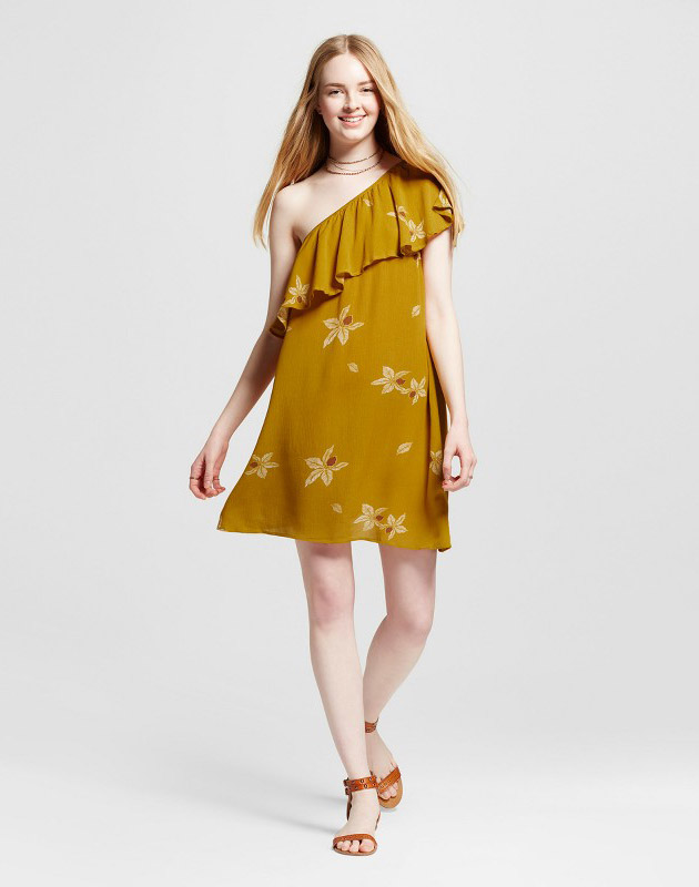 photo Off the Shoulder Dress by Mossimo Supply Co., color Yellow Floral - Image 1