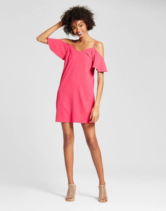 photo Woven Cold Shoulder Shift Dress Coral by Vanity Room, color Pink - Image 1