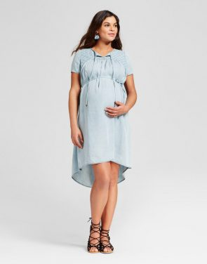photo Maternity Denim Wash Eyelet Dress by 14Th Place, color Blue - Image 1