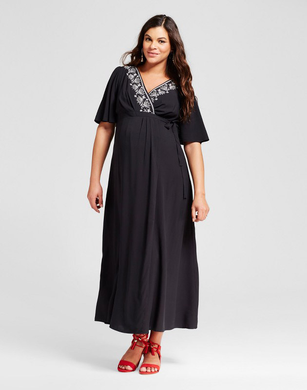 photo Maternity Embroidered Trim Maxi Dress by 14Th Place, color Black - Image 1