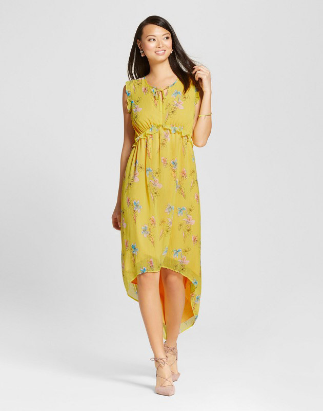 photo Floral Ruffle Maxi Dress by Merona, color Yellow Floral - Image 1
