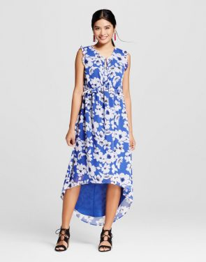 photo Floral Ruffle Maxi Dress by Merona, color Uniform Blue Multi - Image 1
