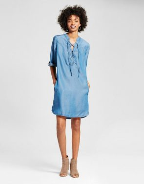 photo Chambray Lace Up Dress by Alison Andrews, color Denim Blue - Image 1