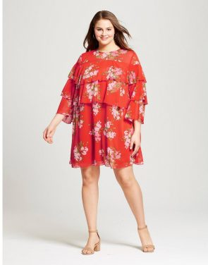 photo Plus Size Layered Ruffle Mini Dress by Who What Wear, color Red Floral - Image 1