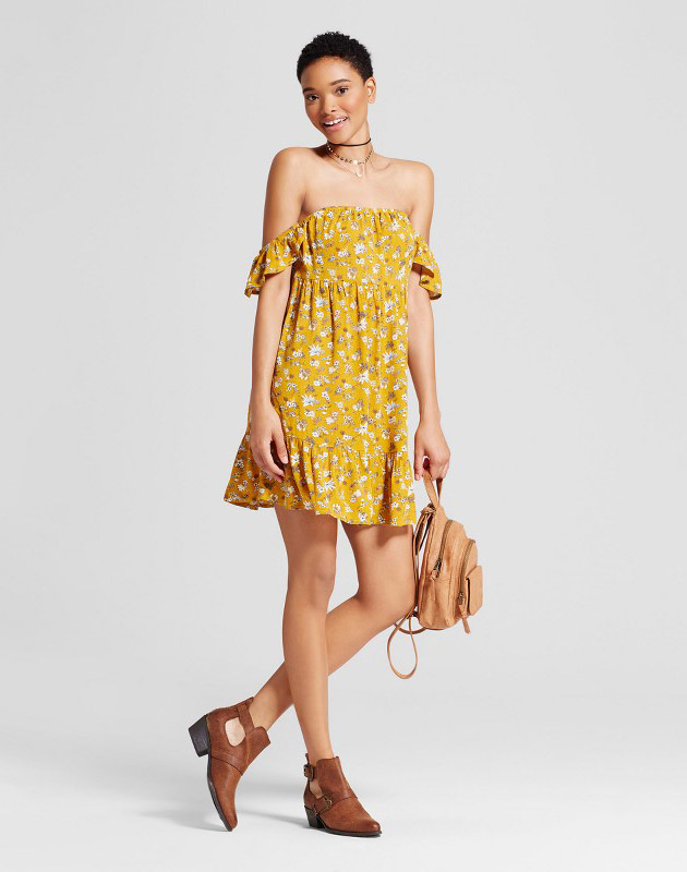 photo Off the Shoulder Tiered Ruffle Dress by Mossimo Supply Co., color Yellow Floral - Image 1