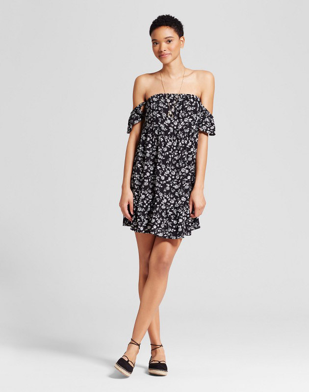photo Off the Shoulder Tiered Ruffle Dress by Mossimo Supply Co., color Black Floral - Image 1