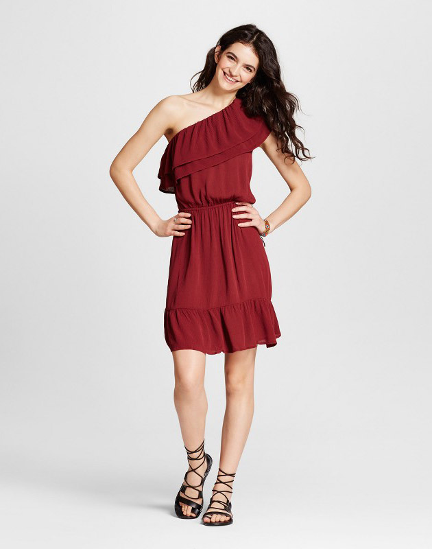 photo One Shoulder Ruffle Dress by Mossimo Supply Co., color Burgundy - Image 1