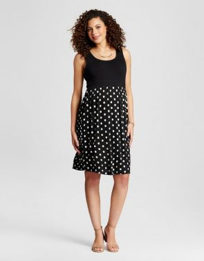 photo Maternity Polka Dot Print Dress by MaCherie, color Black - Image 1