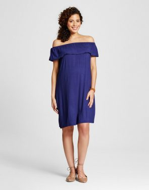 photo Maternity Off the Shoulder Dress by MaCherie, color Blue - Image 1