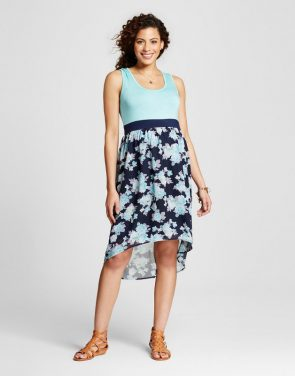 photo Maternity Floral Print Hi Lo Dress by MaCherie, color Blue - Image 1