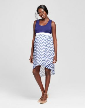 photo Maternity Chevron Print Hi-Lo Dress by MaCherie Maternity, color Blue - Image 1