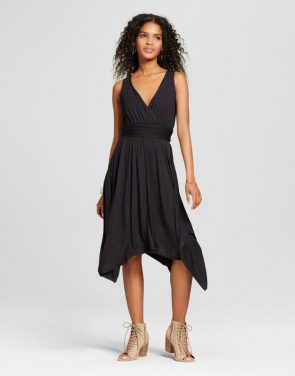 photo V-Neck Dress with Asymmetrical Hem by Vanity Room, color Black - Image 1