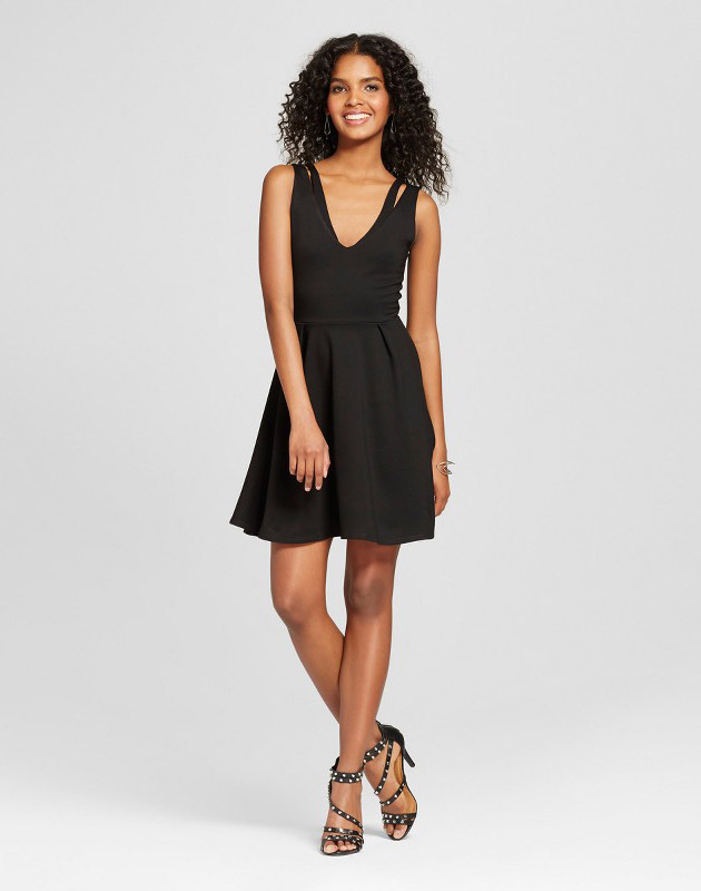 photo Ponte Fit and Flare Dress with Cut Outs by Vanity Room, color Black - Image 1