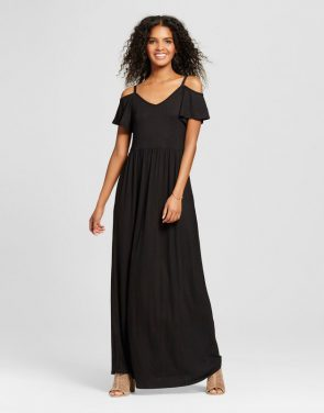 photo Cold Shoulder Maxi Dress by Vanity Room, color Black - Image 1