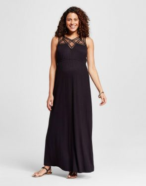 photo Maternity Crochet Yoke Maxi Dress by MaCherie, color Black - Image 1