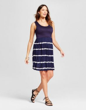 photo Maternity Tie Dye Print Dress by MaCherie, color Blue - Image 1