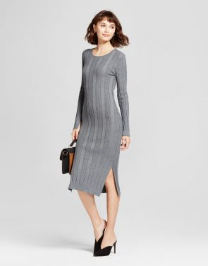 photo Ribbed Sweater Dress by Mossimo, color Grey - Image 1