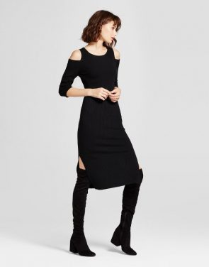 photo Cold Shoulder Ribbed Sweater Dress by Mossimo, color Black - Image 1