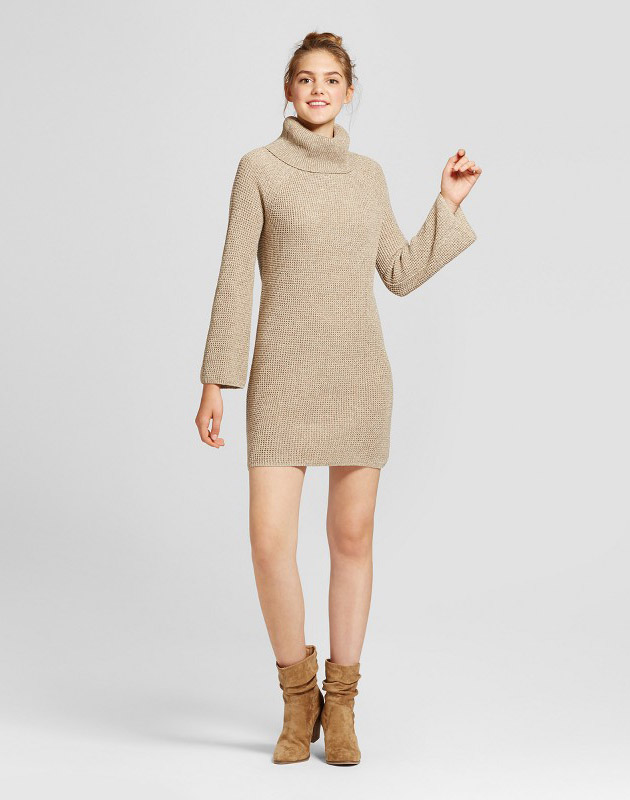 photo Cowl Neck Sweater Dress by Mossimo Supply Co., color Beige - Image 1