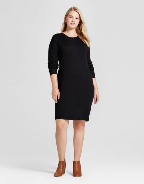 photo Plus Size Ribbed Sweater Dress by Ava & Viv, color Black - Image 1