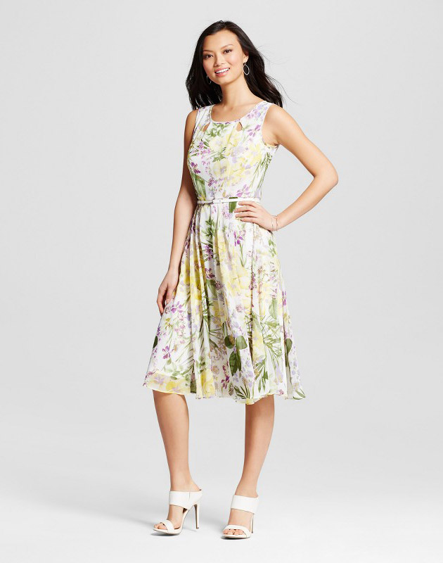 photo Floral Printed Chiffon Dress with Belt by Melonie T, color Ivory/Yellow - Image 1