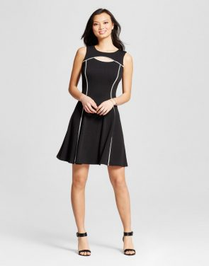 photo Textured Knit Contrast Seamed Fit and Flare Dress by Melonie T, color Black/Ivory - Image 1