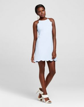 photo Scallop Halter Dress by Necessary Objects, color Blue - Image 1