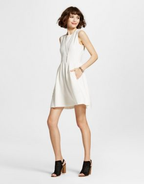 photo Sleeveless A-Line Dress Cream by K by Kersh, color Beige - Image 1