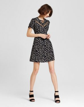 photo Printed Dress with Lace Trim by Eclair, color Black/White - Image 1