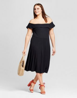 photo Plus Size Rib Bardot Dress by Who What Wear, color Black - Image 1