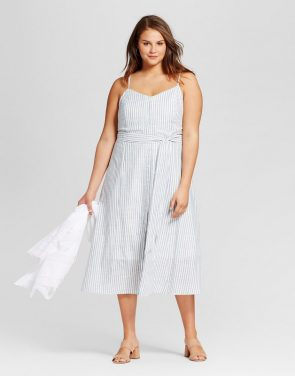 photo Plus Size Button Down Tank Dress by Who What Wear, color Blue Stripe - Image 1