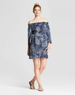 photo Maternity Paisley Print Off the Shoulder Dress by Fynn & Rose, color Blue - Image 1