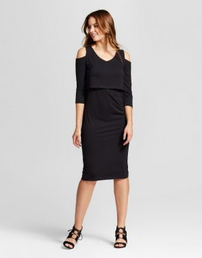 photo Maternity Cold Shoulder Knit Overlay Dress by Fynn & Rose, color Black - Image 1