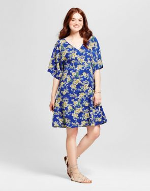 photo Maternity Floral Printed Kimono Sleeve V-Neck Dress by Fynn & Rose, color Blue - Image 1