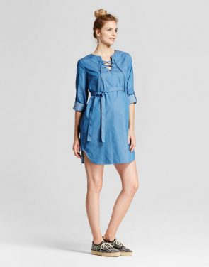 photo Maternity Lace Up Front Chambray Dress W/ Belt by Fynn & Rose, color Blue - Image 1
