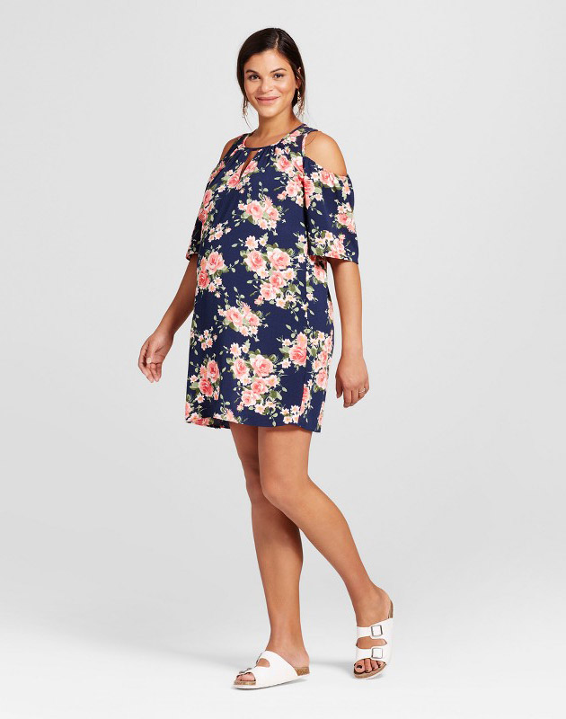 photo Maternity Cold Shoulder Dress by Maternal America, color Navy Floral - Image 1