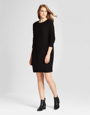 photo Cable Knit Sweater Dress by Mossimo Supply Co., color Black - Image 1