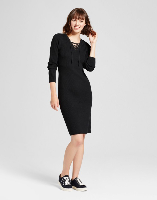 photo Body Con Sweater Dress by Mossimo Supply Co., color Black - Image 1