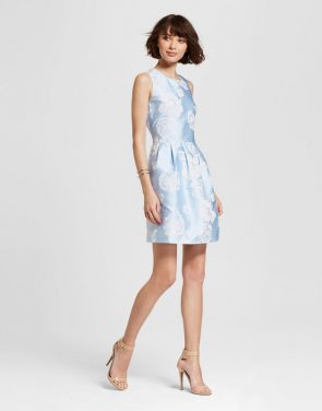 photo Jacquard Fit n Flare Dress by Alison Andrews, color Sky Blue - Image 1