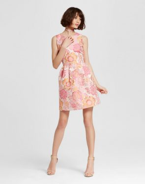 photo Jacquard Fit n Flare Dress by Alison Andrews, color Pink Rose - Image 1