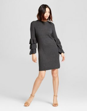 photo Textured Sweater Dress by A New Day, color Charcoal (Grey) - Image 1