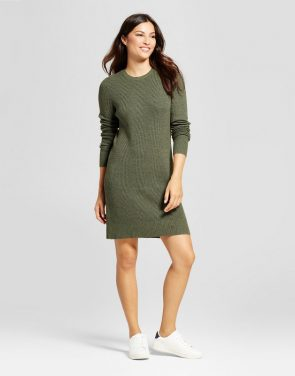 photo Textured Sweater Dress by A New Day, color Green - Image 1