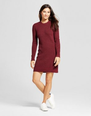 photo Textured Sweater Dress by A New Day, color Burgundy - Image 1