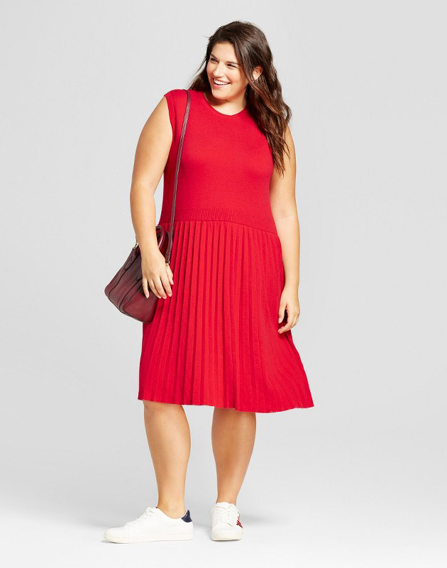 photo Plus Size Fit and Flare Sweater Dress by A New Day, color Red - Image 1