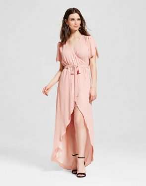 photo Wrap Maxi Dress by S&P by Standards and Practices, color Pink - Image 1